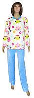 Пижама махровая подростковая 18202 Owl Blue вельсофт для девочки, р.р.42-44