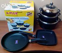 Набор посуды 3 кастрюли + 2 сковороды ( гриль ) А+ 1499