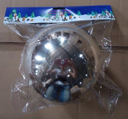 Шар пластиковый глянцевый d15 cм, серебро (030491)