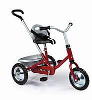 Детский велосипед с багажником и ручкой (красный)