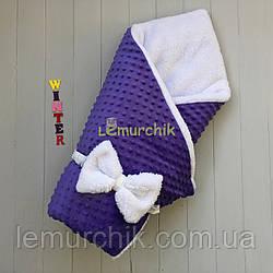 Конверт-одеяло минки на махре, фиолетовый