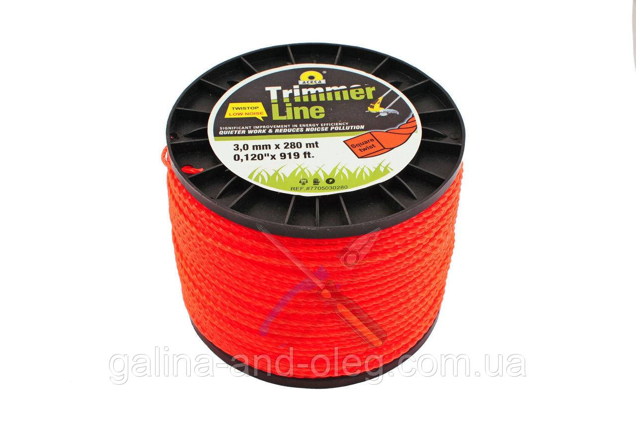 "Леска для триммера Trimmer Line - 3,0 мм х 280 м, (на катушке) ""квадрат крученый"""