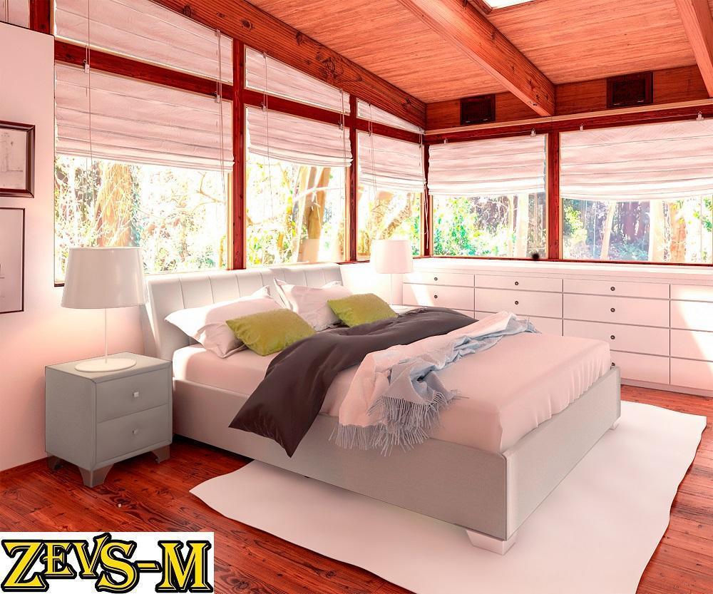 Ліжко двоспальне з мякою спинкою спальню Zevs-M Релакс 140*190