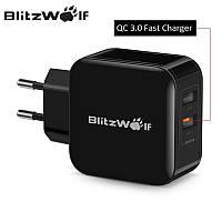 Универсальное зарядное устройство BlitzWolf BW-S6 30W Quick Charge 3.0 + 2.4A. 2 USB. Быстрая зарядка. Black, фото 1