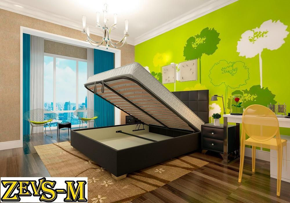 Кровать с подъемным механизмом с мягкой спинкой Zevs-M Стелла 140*190