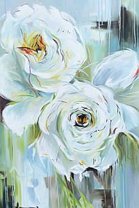 Интерьерная картина маслом на холсте Белые розы