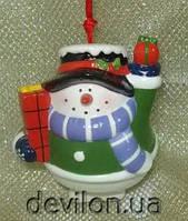 Снеговик керамический с колокольчиком, арт. 021772