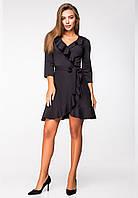 Черное трикотажное платье с запахом., фото 1