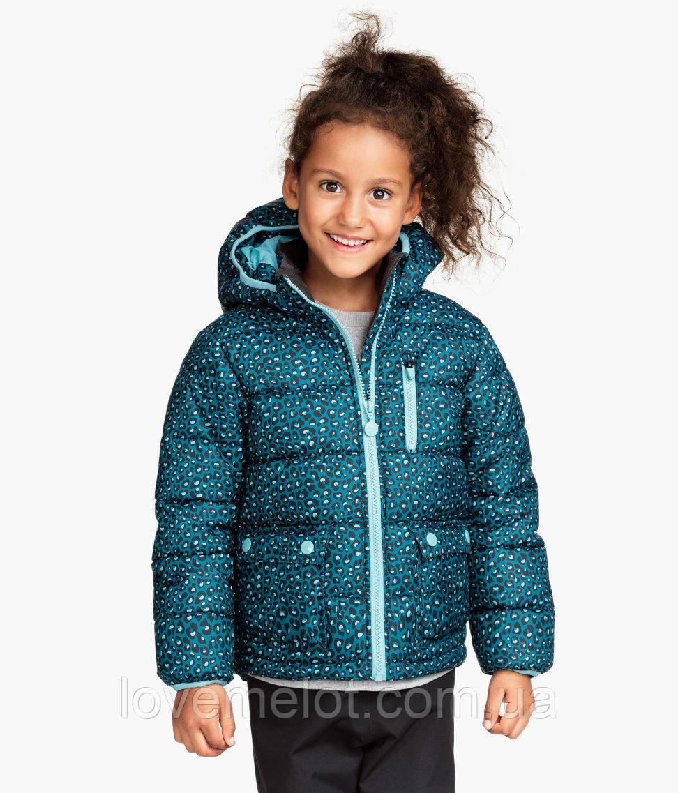 """Детская куртка теплая зимняя H&M """"Синий леопард"""" для девочки, размер 104 см"""
