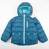 """Детская куртка теплая зимняя H&M """"Синий леопард"""" для девочки, размер 104 см, фото 2"""