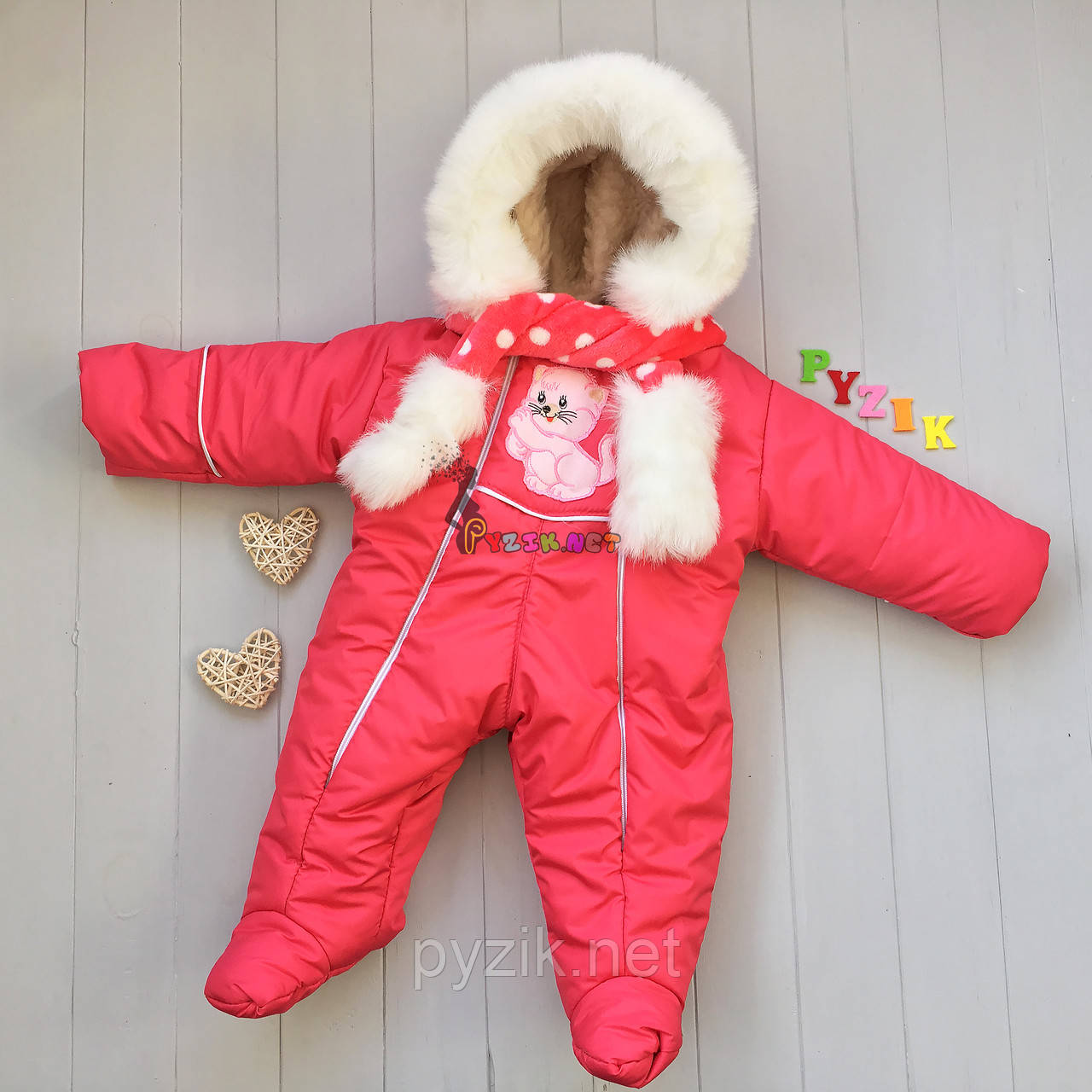 Комбинезон детский теплый с капюшоном алый, 0-5 месяцев