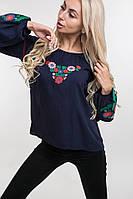 Вышитая женская блузка с цветочным орнаментом темно-синяя