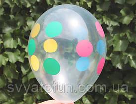 """Латексные шарики Горошек-полька на прозрачном 12""""(30см) 100 шт/уп Gemar"""