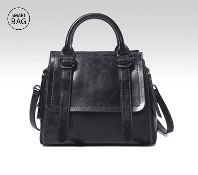 Классическая женская кожаная сумка | черная
