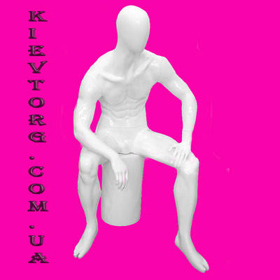 Манекен мужской сидячий глянцевый белый аватар