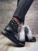 Ботинки зимние женские  Lux с опушкой натуральный мех чернобурка