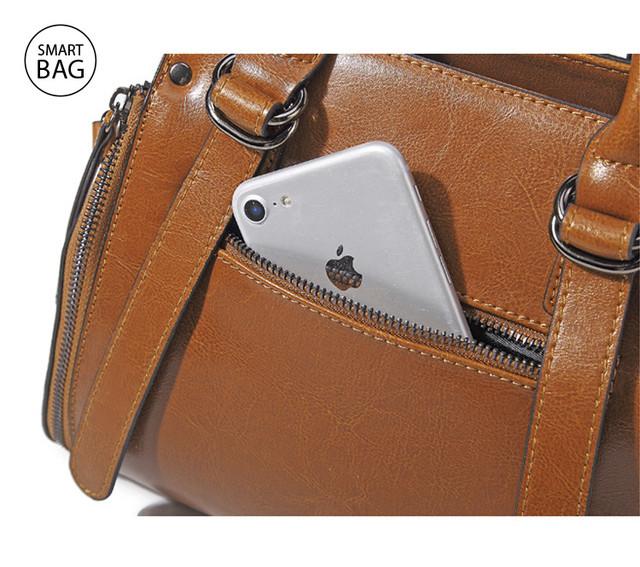 Классическая женская кожаная сумка | коричневая