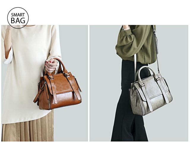 Классическая женская кожаная сумка | серая