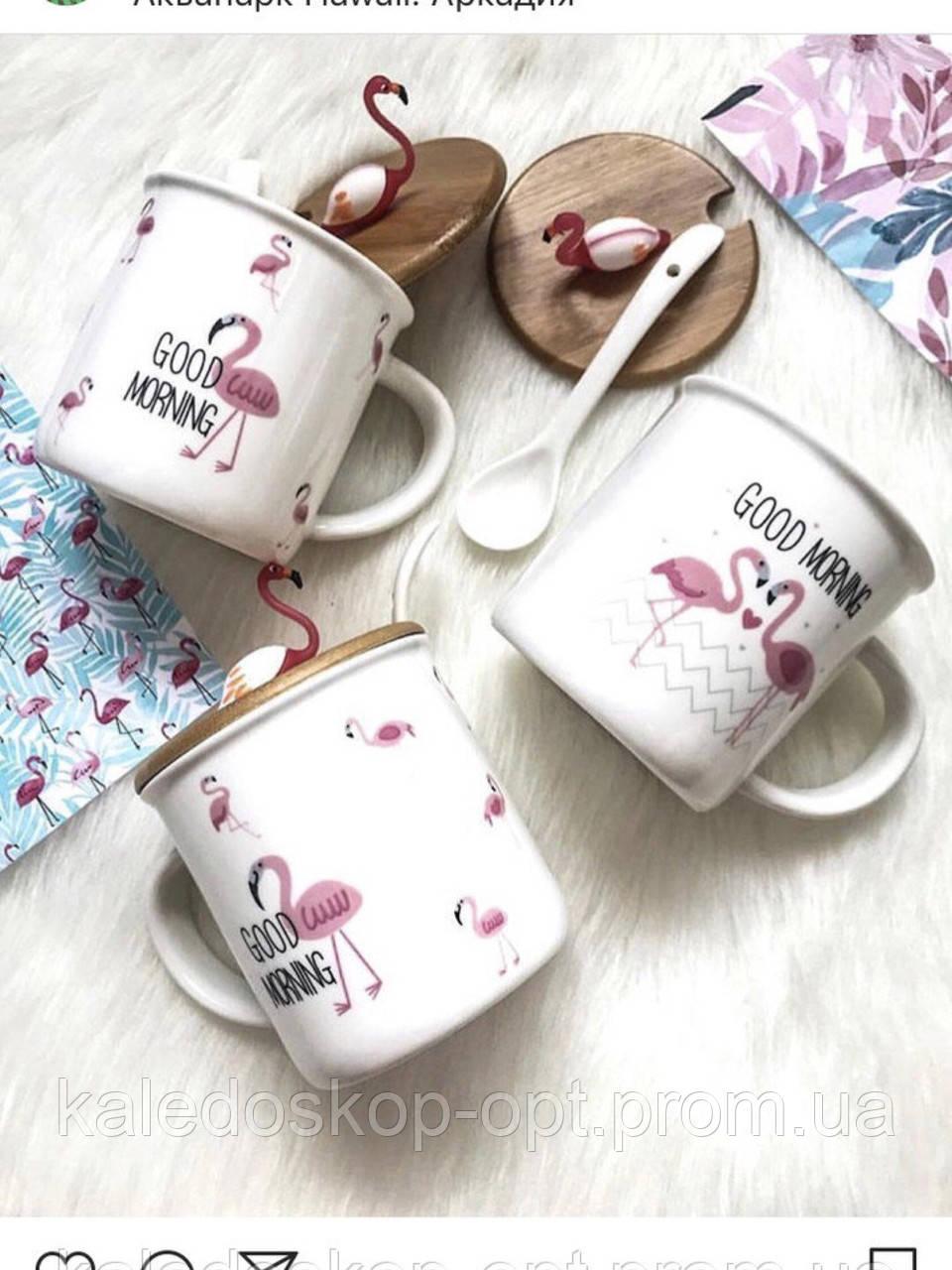 Керамическая чашка Фламинго с крышкой и ложечкой