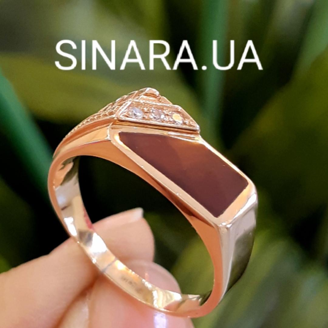 Стильная золотая печатка с коньячным перламутром - Мужское золотое кольцо
