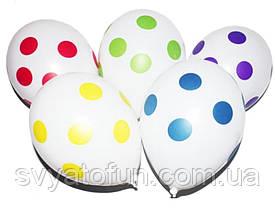 """Латексные шарики Горошек-полька на белом 12""""(30см) 100 шт/уп Gemar"""
