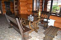 Стол под старину из массива сосны ( с закругленной столешницей)