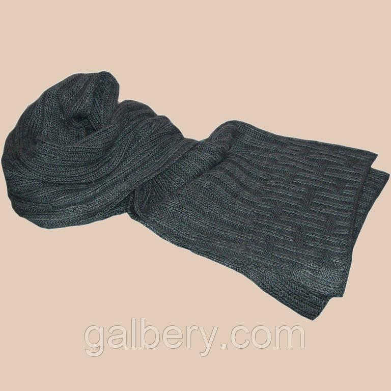 Вязаный зимний шарф - петля серого цвета маренго