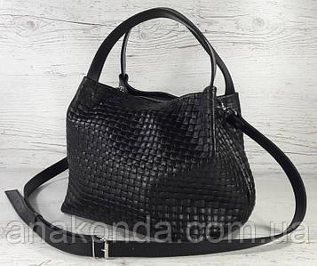 521 Натуральная кожа, Сумка женская черная с тиснением 3D кожаная черная женская сумка мягкая