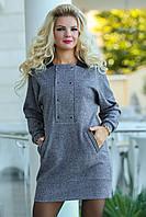 Трикотажное Платье с воротником, фото 1