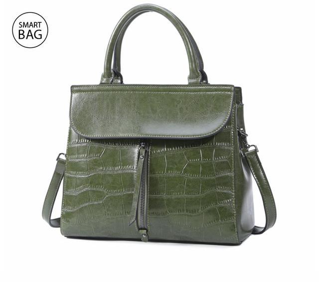 Повседневная классическая женская кожаная сумка | зеленая