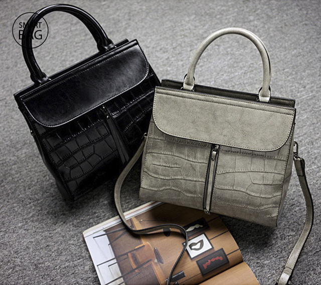 Повседневная классическая женская кожаная сумка | черная