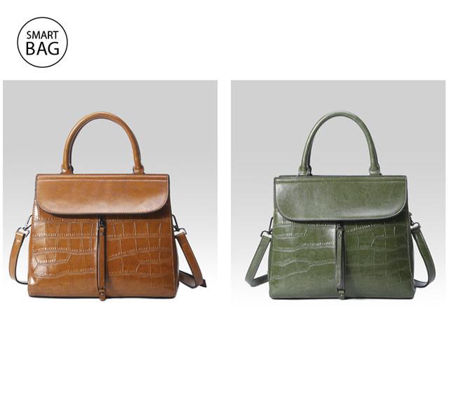 Повседневная классическая женская кожаная сумка | коричневая