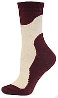 Носки женские махровые льняные Смалий, 23-25 размер, рисунок 01, бордовые, 036001