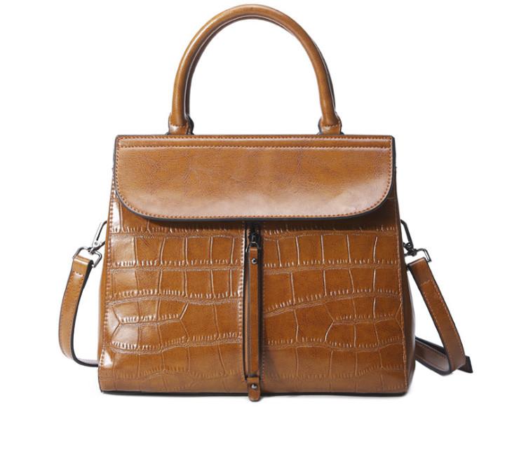 Повседневная классическая женская кожаная сумка Коричневый