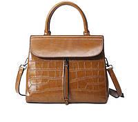 Повседневная классическая женская кожаная сумка Коричневый, фото 1