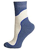 Носки женские махровые льняные Смалий, 23-25 размер, рисунок 01, тёмно-синие, 036003