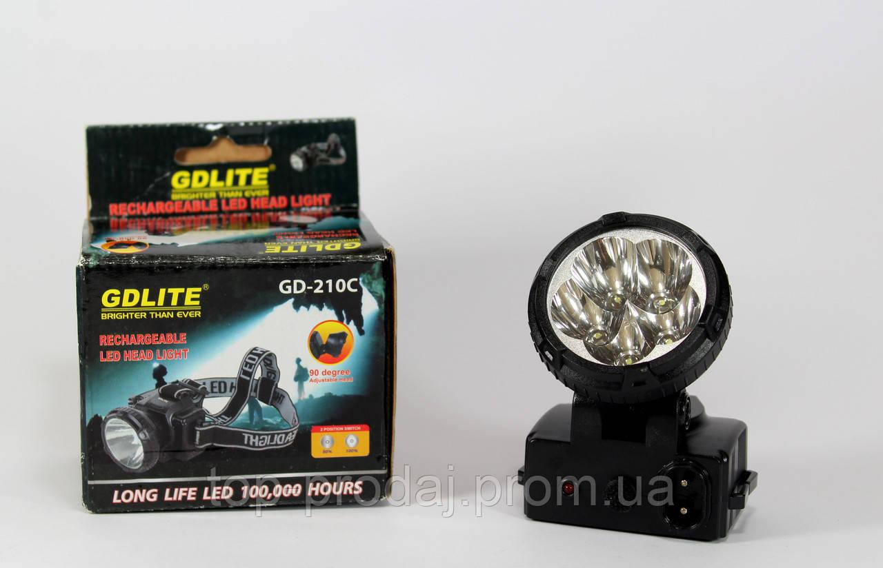 Фонарик GD 210, Фонарь налобный, Светодиодный фонарь на голову, Бытовой фонарь на голову аккумуляторный
