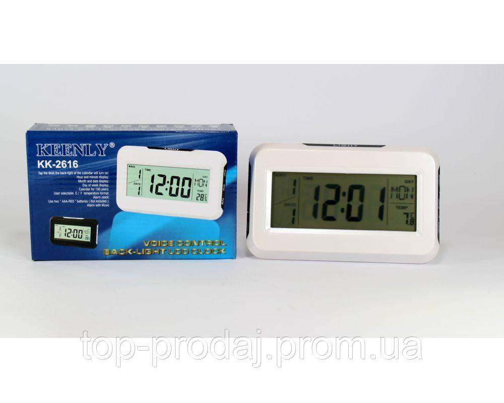 Часы 2616 Говорящие, Настольные электронные  часы с голосом, Многофункциональные часы, Цифровые часы