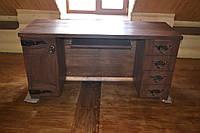 Стол для работы под старину ( наполнение: шухляды, полки, декор из кованных деталей)