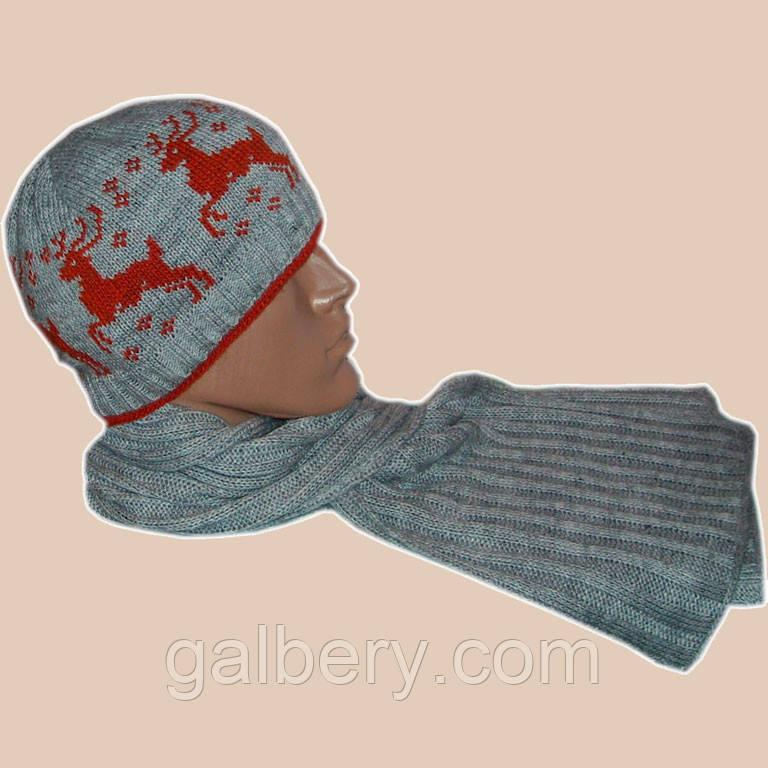 Мужская вязаная шапка и шарф-петля c норвежскими орнаментами