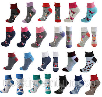 Шкарпетки жіночі махрові х/б без гумки з відворотом Смалій, 23-25 розмір, асорті, 035001