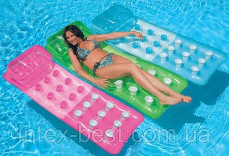 Надувной пляжный матрас Intex 58890 Голубой (188х71 см.), фото 2