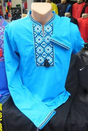 Вышиванка мужская недорого Голубой, фото 2
