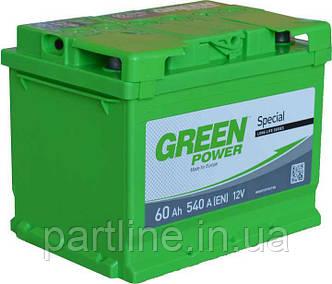 Аккумулятор 6СТ-60 Green Power, Пусковой ток 540En, габариты 242х175х190, гарантия 24 мес., стандарт класс
