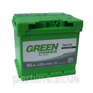 Аккумулятор Green Power 6СТ-50, пусковой ток 420En, габариты 215х175х190, гарантия 24 мес., стандарт класс