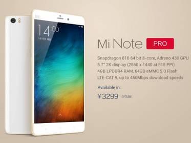Xiaomi Mi Note Pro: QHD-экран, Snapdragon 810 и 4 ГБ ОЗУ