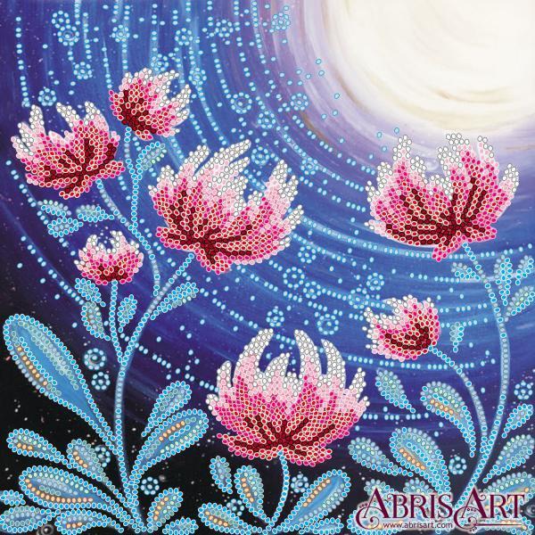 Схема для вышивки бисером Цветы под луной