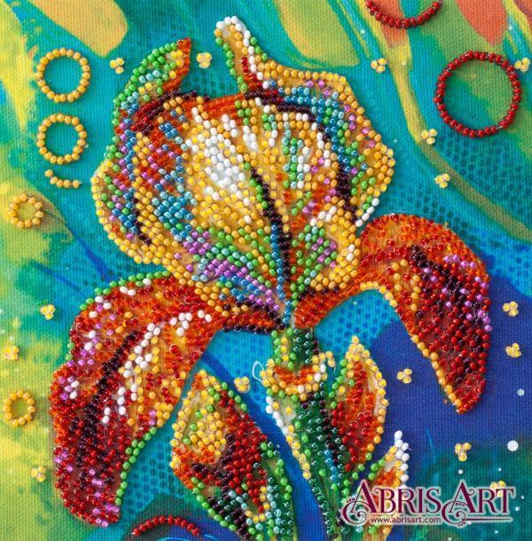 Набор-мини для вышивки бисером на натуральном художественном холсте Разноцветный ирис