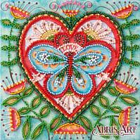 Набор-мини для вышивки бисером на натуральном художественном холсте Летнее сердечко