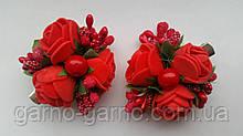 Заколка для волос с цветами красные розы